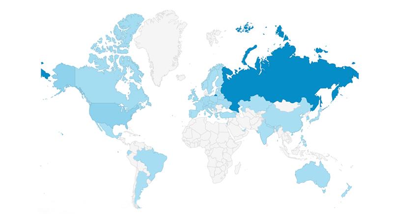 Khabenskiy.com visitors on Google Analytics map